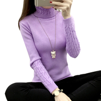 2017 Autumn Winter Knitted Women Sweaters And Pullovers Turtleneck Long Sleeve Twisted Flower Knitwear Solid Warm