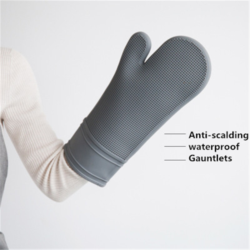 Kitchen silicone baking microwave oven special insulation gloves thick heat resistant anti-hot