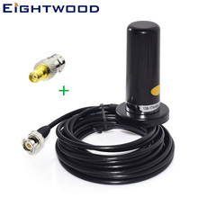 Eightwood Magnetic Base 9cm Auto Antenna for Auto Car Radiotelephone Aerial 5M Cable VHF/UHF Dual Band and BNC to SMA Adapter eightwood car brand new multi band gps wifi iridium antenna with sma plug connector for vw audi bnw ham