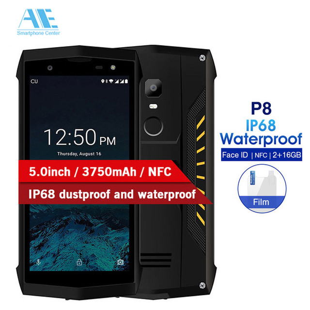 POPTEL P8 5.0 inch IP68 Waterproof Smartphone Android 8.1 2GB RAM 16GB ROM MTK6739 Quad Core 8MP NFC 4G LTE Mobile Phone