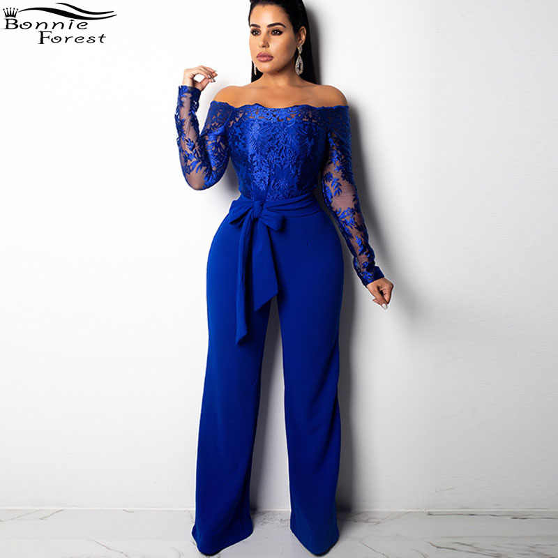 8475121c024 Bonnie Forest Sexy Women Off Shoulder Sequin Ruffle Top Jumpsuit Long  Sleeve Lace Flower Long Pant