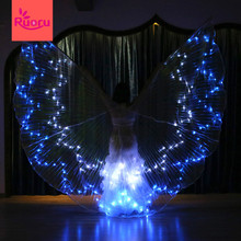 Ruoru Belly Dance Led Isis Wings with Adjustable Stick Accessories Lighting Up Stage Performance Props