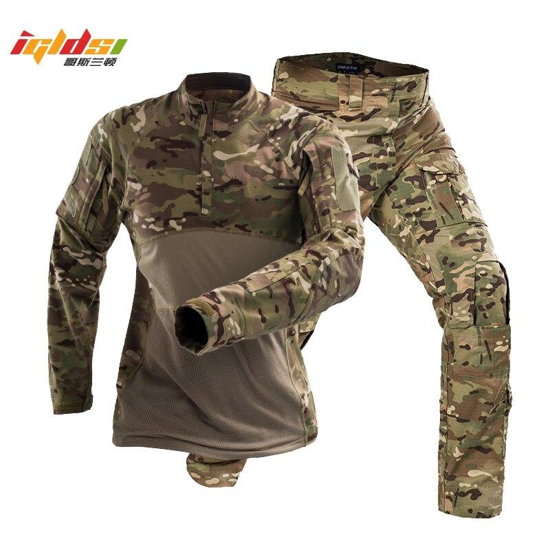 Tactical Camouflage Military Uniform Clothes Suit Men US Army Clothes Military Combat Shirt + Cargo Pants Special Force Suits