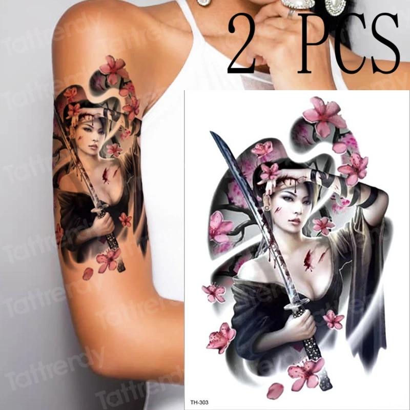 Tatouage Temporaire Geisha Japonais Samourai Tatouages Feuilles Tatouage Amovible Etanche Tatoo Autocollant Corps Femmes En Gros 2 Pieces Lot Aliexpress