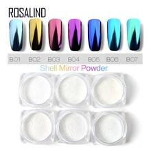 ROSALIND 1 box  7 Colors Shell Nail Mirror Powder Nail Glitt