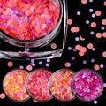 1 Mini Caja Colorida Redonda Del Brillo Del Paillette Lentejuelas de Uñas de Manicura Nail Art Decoración 01-12