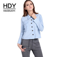 HDY Haoduoyi Brand 2017 Light Blue Women Casual Cotton Shirts Buttons Pockets OL Lady Elegant Blouses