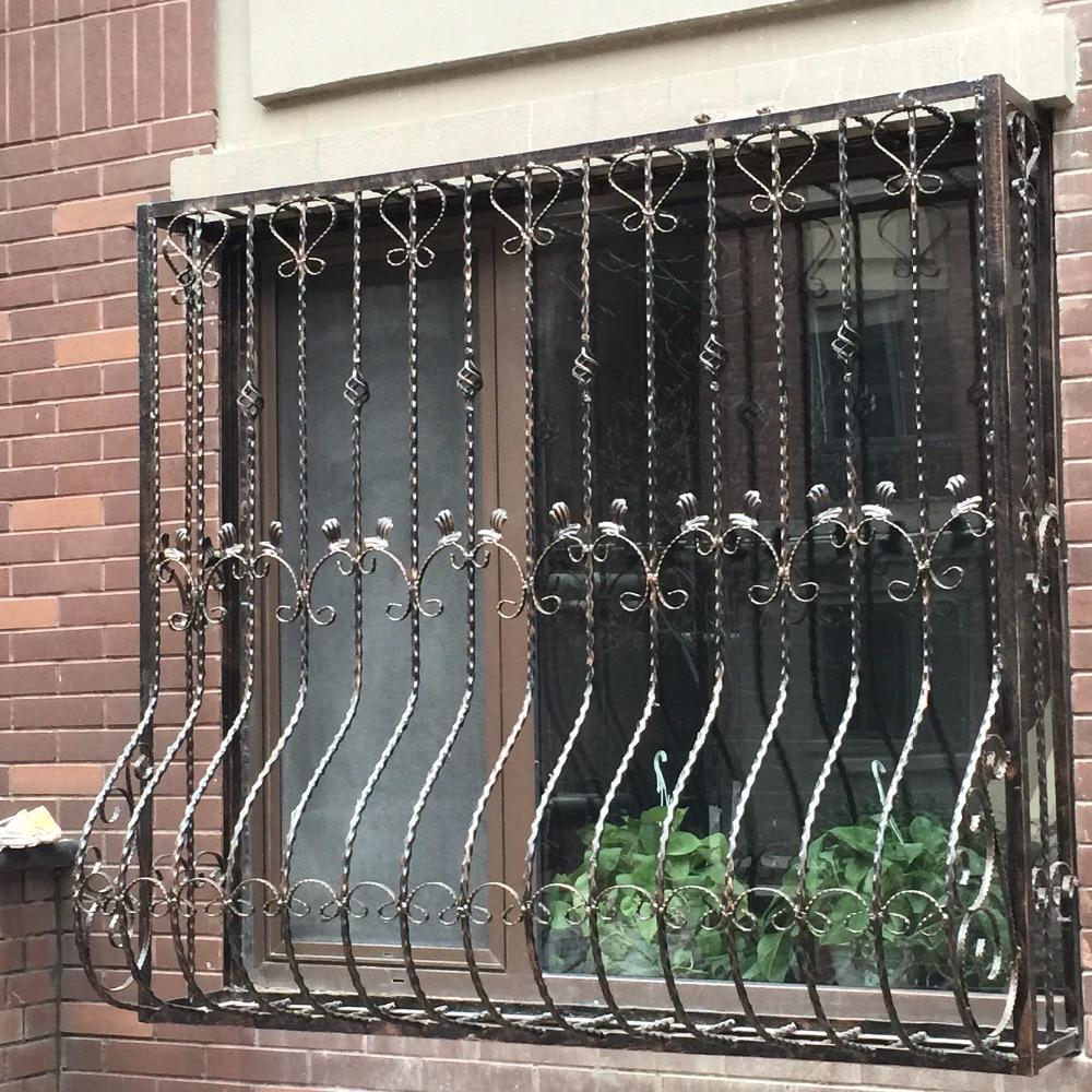 Wrought iron steel glass window metal glass window wrought for Window grill new design