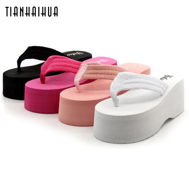 Summer Shoes Women 2018 7CM Slope Platform Sandals Wedge Flip Flops Slope Heel Thick Bottom Slippers Sandalias Plataforma стоимость