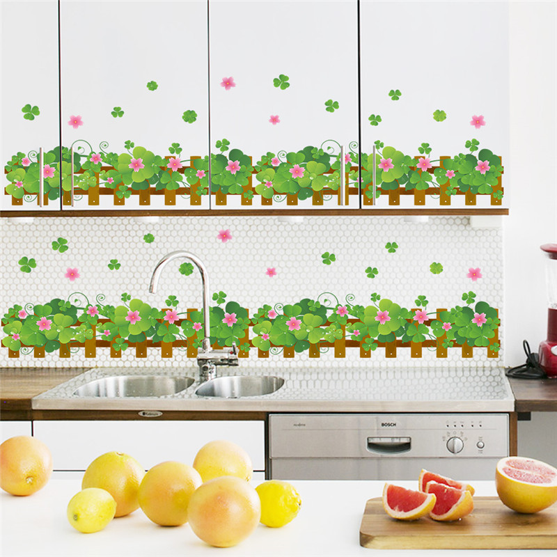 Country style garden fence flower wall stickers living for Kitchen decoration with flowers