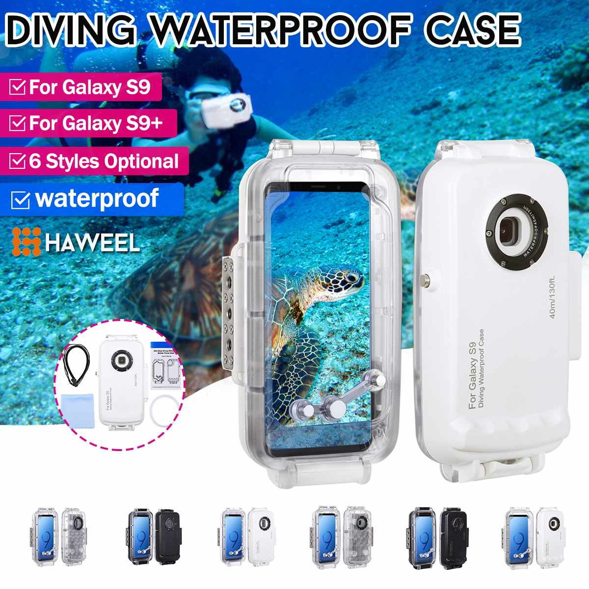 6 Pcs HAWEEL 40m Underwater Diving Phone Protective Case for Galaxy S9/S9+ Surfing Swimming Snorkeling Photo Video Taking Cover6 Pcs HAWEEL 40m Underwater Diving Phone Protective Case for Galaxy S9/S9+ Surfing Swimming Snorkeling Photo Video Taking Cover
