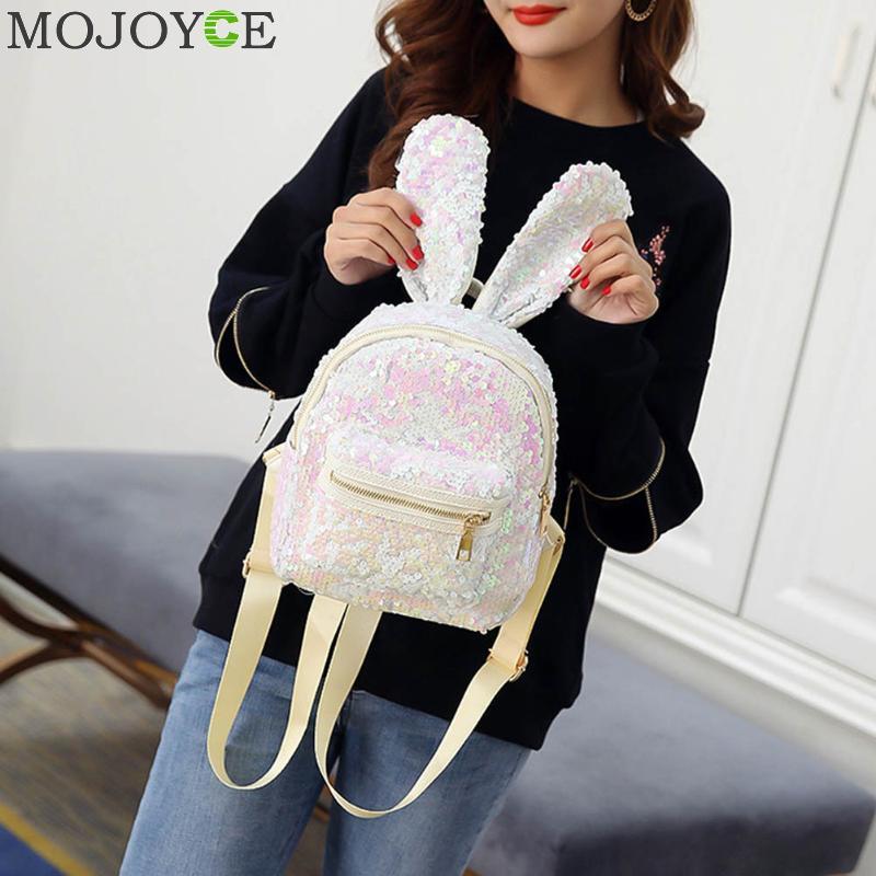 Mini Sequins Backpack Cute Rabbit Ears Shoulder Bag For Women Girls Travel Bag Bling Shiny Backpack Mochila Feminina Escolar New #4