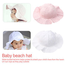 купить Solid Color Summer Baby Hat Children Sun Cap Cotton Bucket Hats Boys Girls Wide Brim Beach Caps дешево