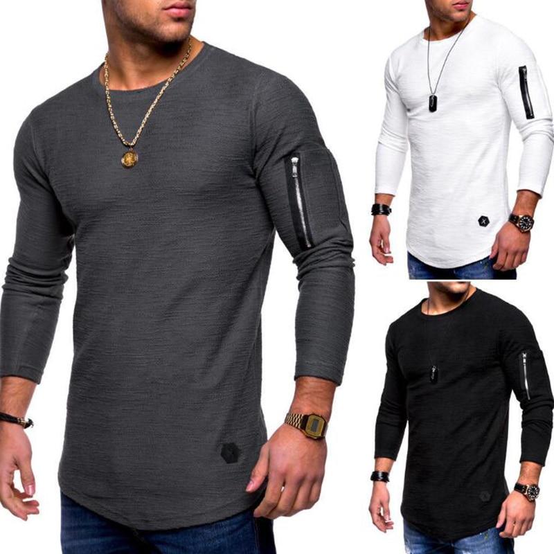 New O Neck Arm Pocket Casual Men Hoodies Fashion Brief Long Sleeve Hoodies Men Autumn Solid Men Sweatshirts