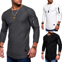 New O Neck Arm Pocket Casual Men Hoodies Fashion Brief Long Sleeve Autumn Solid Sweatshirts