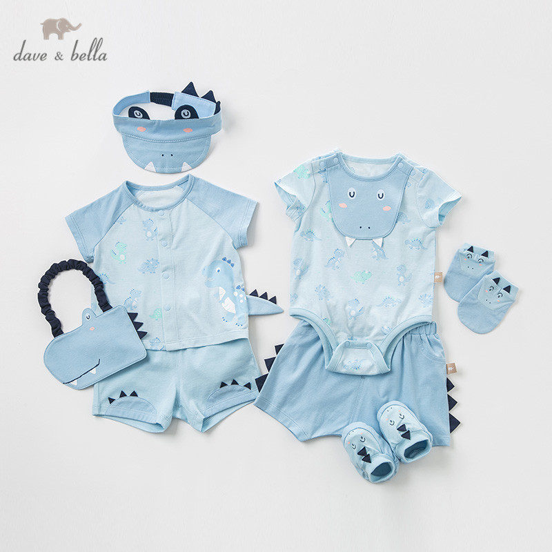 dave bella summer baby boy new born romper fashion clothing sets boy cute short sleeve suits new born gift sets DBH10788-B