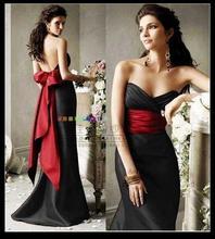 free shipping 2013 black prom Mermaid fashion performance wear red bow high neck sleeveless organza ball evening dresses