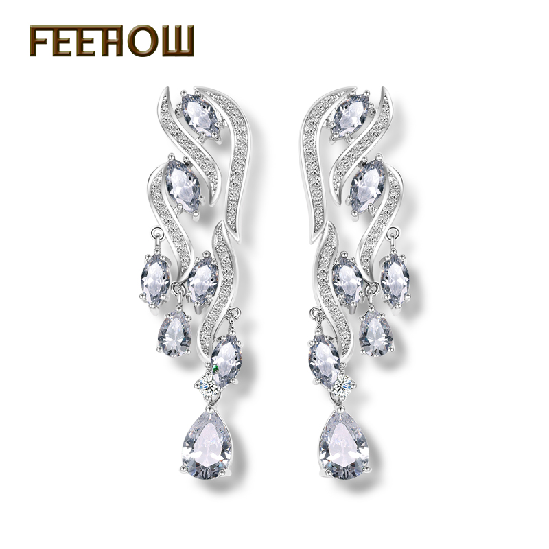 FEEROW Luxury Wedding CZ Diamond Dangle Earrings White Gold Plated Vintage Style Brand Women Drop Earrings FWEP155