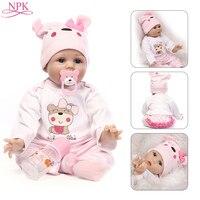 NPK Doll Reborn 55CM Soft Silicone Reborn Baby Dolls Vinyl Toys Big Dolls For Girls 3 7 Years Old Baby Dolls With Blouse Cloth