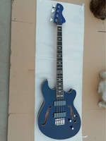 New High Quality GYHP 054 dark blue color double F hollow body 4 strings Electric Bass , be customized. Free shipping!