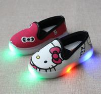 2017 Spring 21 30 Hello Kitty Children Light Shoes For Girls Baby Canvas Shoes Cartoon LED