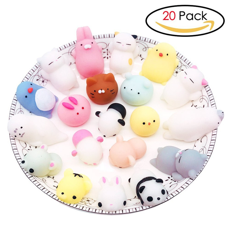 Squishy Toys 20 Pcs Mochi Animal Toy Stress Relief Squeeze Cute Mini Squishies Panda Cats Bear Seal