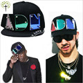 2016 Acrylic Crystal Light Letters Capsgorras Planas Hip-Hop Baseball Hat black Adjustable Adult Street Letter DJ Club Snapback