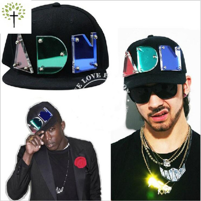 2016 Acrylic Crystal Light Letters Capsgorras Planas Hip-Hop Baseball Hat black Adjustable Adult Street Letter DJ Club Snapback