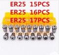 Бесплатная доставка ER25 15 шт. Зажим 2 мм до 16 мм диапазон для фрезерования ЧПУ гравировальный станок инструмент оси двигателя.