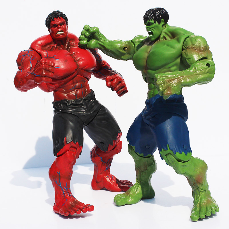 все цены на Movie Super Hero The Hulk PVC action Figure toy 25cm Red Hulk Green Hulk Figures Toys Free Shipping онлайн