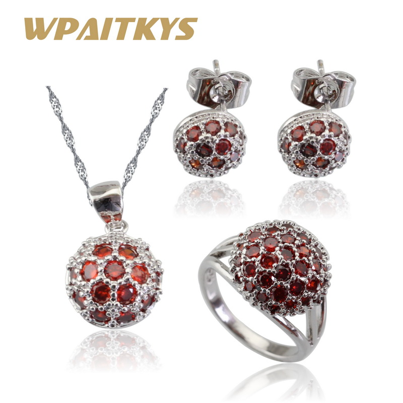 Round Red Cubic Zirconia Stones Silver Color Jewelry Sets For Women Wedding Necklace Pendant Earrings Rings Free Gift Box
