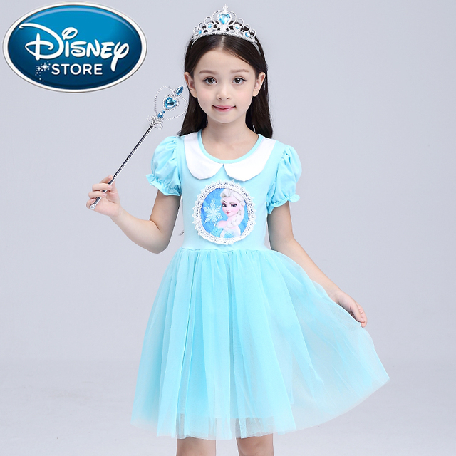 Disney Frozen dress elsa anna Flower Girl Embroidery Summer Party ...