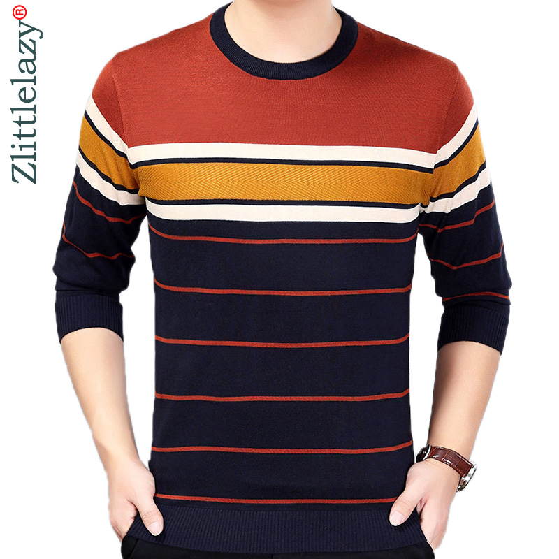 2019 Brand Korean Style Thin Striped Pull Sweater Men Wear Jersey Mensluxury Pullover Mens Sweaters Male Spring Fashions 24007