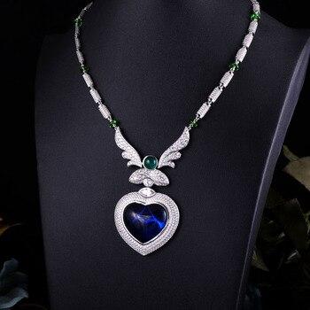 ACCKING Luxury Bridal Cubic Zirconia Necklace Heart For Women Luxury Dubai African CZ Stone Wedding Jewelry Sets
