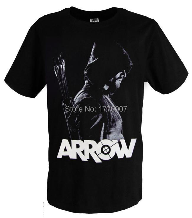 ARROW Oliver Queen 100% Cotton Black SCREEN PRINTED T-Shirt Tee FREE SHIPPING