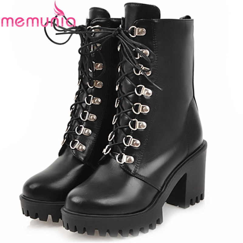MEMUNIA Motorcycle boots for women platform shoes woman high heels boots female lace-up solid PU ankle boots fashion size 34-43 memunia big size 34 43 over the knee boots for women fashion shoes woman party pu platform boots zip high heels boots female
