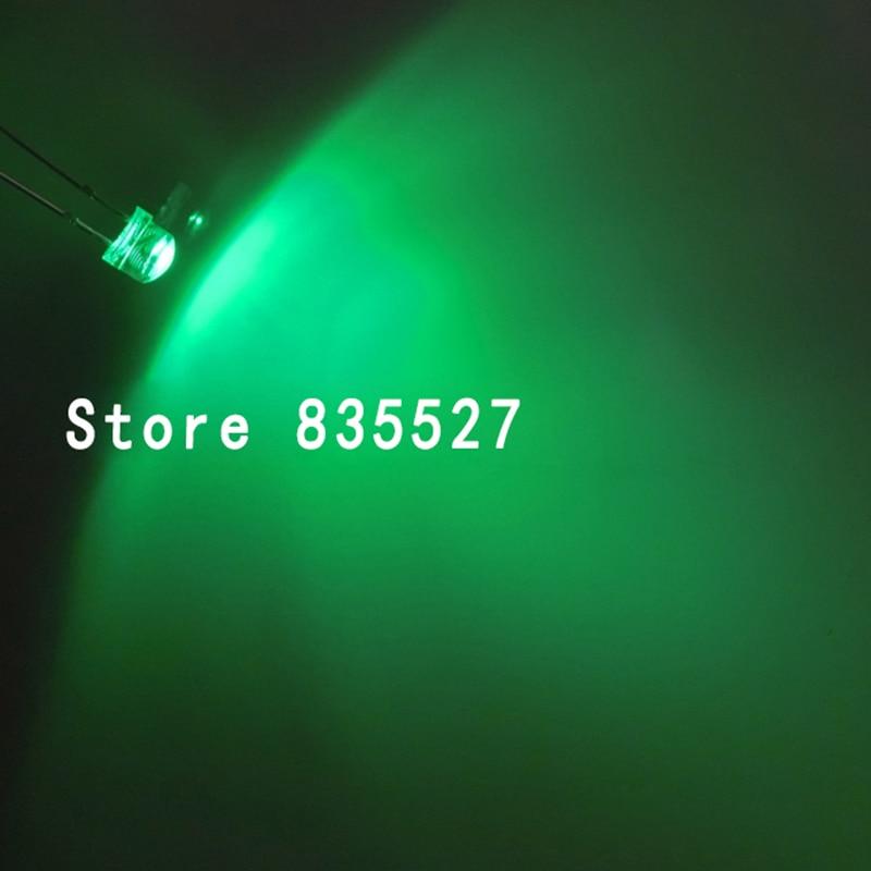 100PCS F5 5mm Emerald GREEN Straw Hat Superbright LED Light LED Lamp