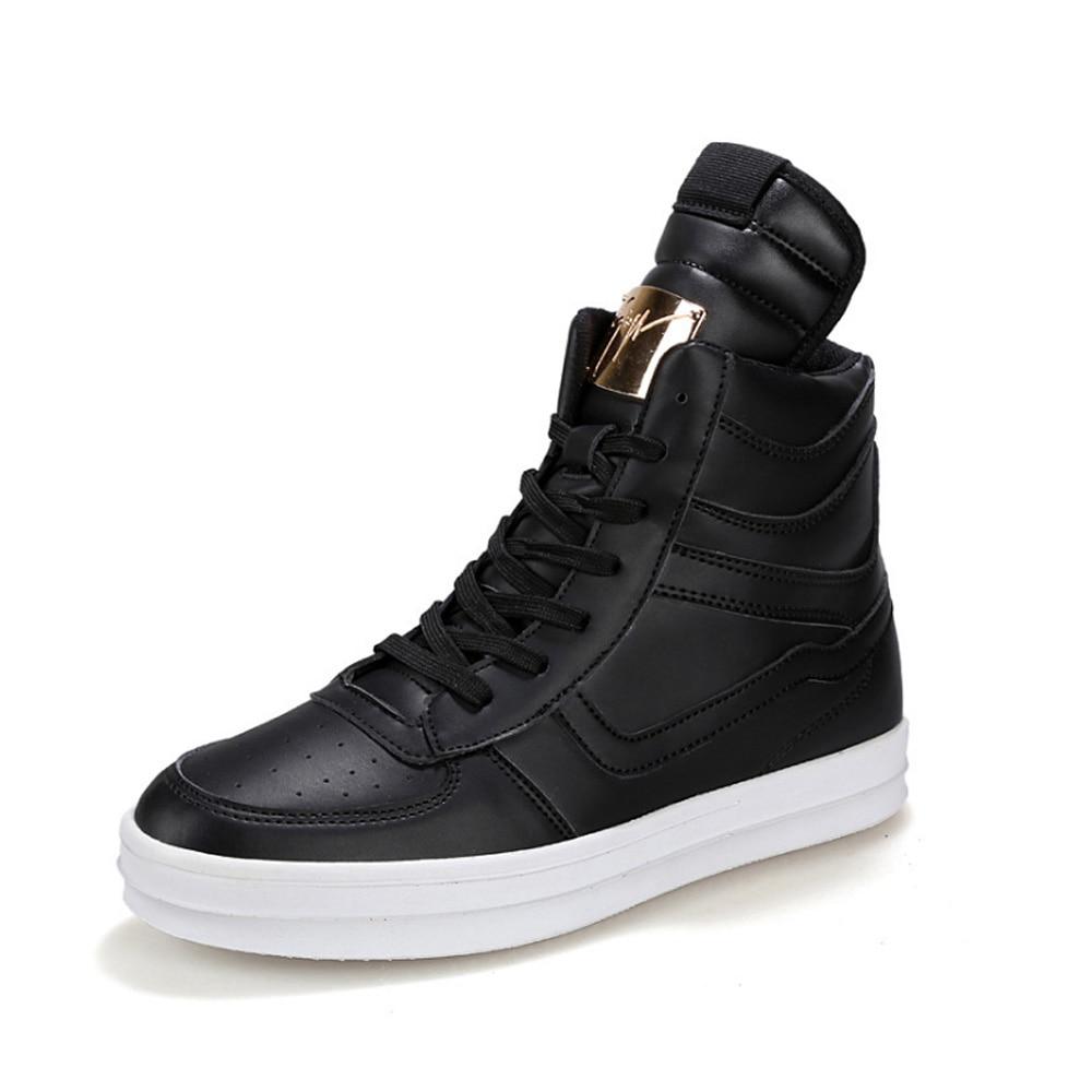 New Men Fashion Brand Shoes Autumn  Men High Top Leather Shoes Breathable Fashion Men's Casual Shoes Male