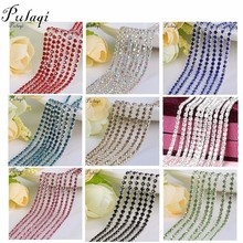 Pulaqi Colorful Rhinestone Cup Chain Fine AB Claw Rhinestones DIY Silver Base Crystal Accessories for Party Dinner Dress Shoes F