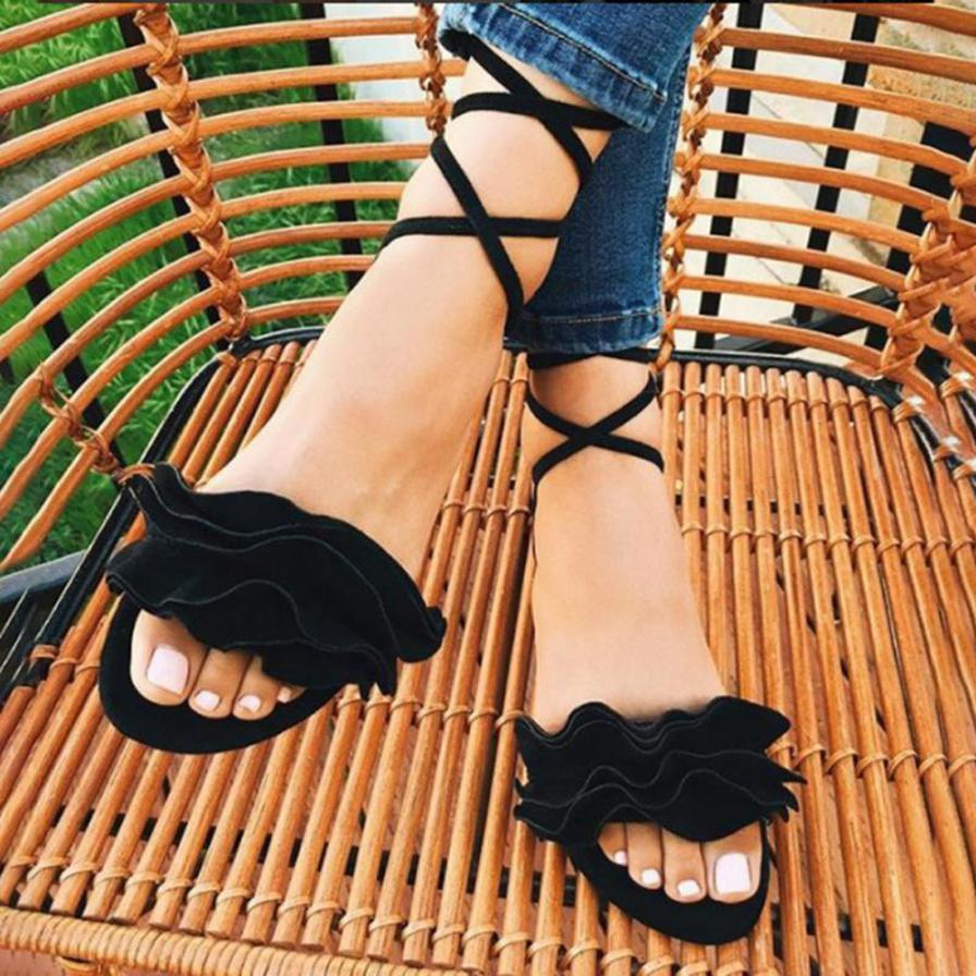 HTB1QmWlbjnuK1RkSmFPq6AuzFXaC - Women Shoes Sandals Women Solid Color Ruffles Round Toe Flat Heel Cross Tied Sandals Rome Shoes Sandals summer