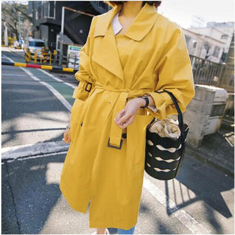 2018 Spring Fall Yellow Windbreaker Women New Fashion Yellow   Trench   Coat Girl Students Long Casual   Trenches   Outwear Overcoat