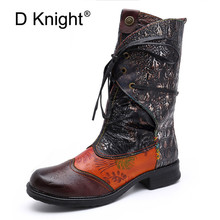 D Knight New Casual Print Women Mid-Calf Boots Retro Genuine Leather Ladies Shoes Stitching Texture Tube Female Motorcycle