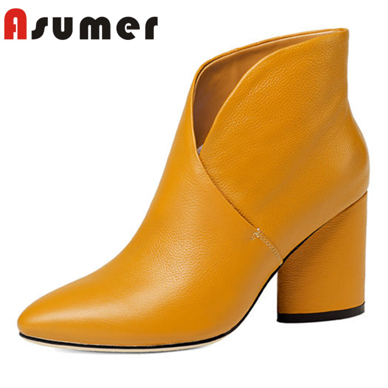 ASUMER NEW ARRIVE 2018 simple solid ankle boots for women pointed toe winter boots strange heels genuine leather shallow boots asumer 2018 new arrive genuine leather boots pointed toe thin heels ankle boots for women fashion solid winter high heels boots