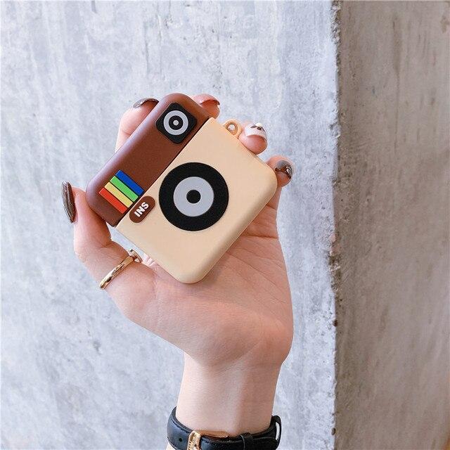 3D mignon Instagram INS caméra casque housses pour Apple sans fil Bluetooth casque Airpods 1 2 Silicone antichoc couverture découteurs