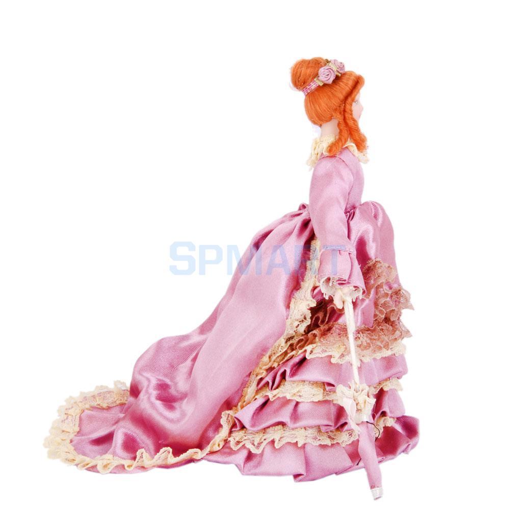 Dollhouse Miniature Porcelain Dolls Victorian Lady in Purple Draped Skirt