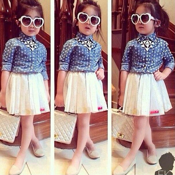 99f9bd2d48ee Fashion Baby Girl Clothing Set Long Sleeve Shirts Skirt Suit Polka ...