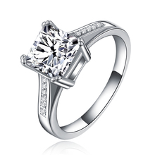 2016 white gold plated CZ Diamond ring Jewelry filled luxury Engagement wedding Rings for women Bague bijoux accessories MYR079