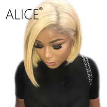 ALICE #613 Bob Wig Pre Plucked Full Lace Human Hair Wigs With Baby Hair Remy Glueless #613 Blonde Full Lace Wigs Peruvian Wigs(China)