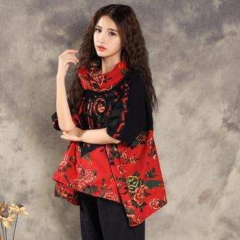 Tradycyjna chińska bluzka bluzki dla kobiet stójka orientalna koszula lniana bluzka damska elegancka top cheongsam TA852 tanie i dobre opinie Topy Z dzianiny WOMEN SILKQUEEN COTTON Linen