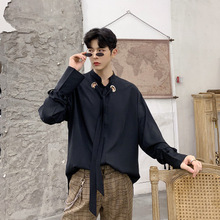 Men's Casual Shirts Black White Tops Metal Eyelets Fashion Wearing Fringing Sleeve Specific Clothing maxi cami dress with fringing black